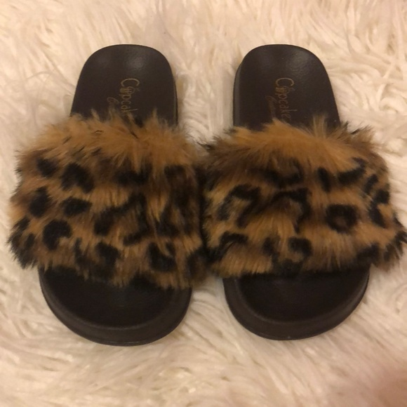 Cupcake Couture Other - Cupcake Cotoure Furry Leopard Slides